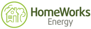 A line art icon of a house, with a tree standing over it on the right, and a seagull flying above on the left, all contained within an outlined circle. The words HomeWorks Energy read on the right, stacked centered, in dark green and grey type.